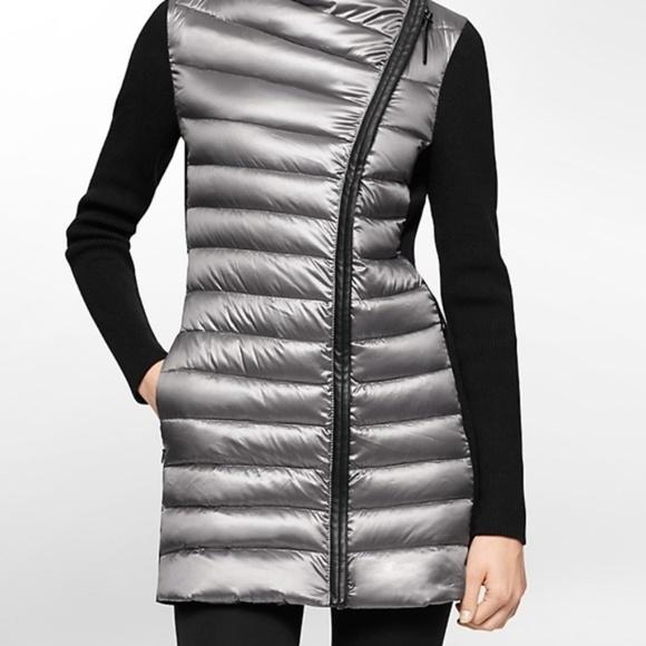 Calvin Klein Jackets & Blazers - Calvin Klein Gray Rib Knit Puffer Down Jacket
